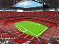 Modern American football Stadium with red seats Royalty Free Stock Photo