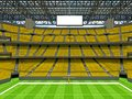 Modern American football Stadium with yellow seats Royalty Free Stock Photo
