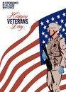Modern american veteran soldier greeting card poster showing illustration of an serviceman carrying armalite rifle with stars and Royalty Free Stock Images