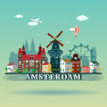 Modern Amsterdam city Skyline Design. Netherlands Royalty Free Stock Photo