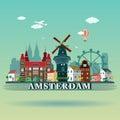 Modern Amsterdam city Skyline Design. Netherlands Royalty Free Stock Photo