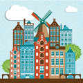 Modern Amsterdam city Skyline Design. Royalty Free Stock Photo