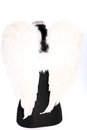 Modern angel soft feathery white wings stylised black body torso isolated white Stock Images
