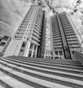 Modern apartment buildings exteriors background / condo with office buildings Royalty Free Stock Photo