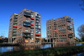 Modern apartment buildings two dutch surrounded by water Stock Photos