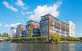 Modern apartment buildings waterfront Royalty Free Stock Photo