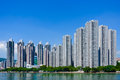 Modern apartment buildings on the waterfront site Royalty Free Stock Photo