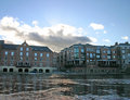 Modern Apartments on the River Ouse in York Royalty Free Stock Photos