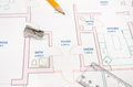 Modern architectural plan, pencil and ruler, Royalty Free Stock Photo