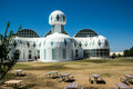 Modern architecture at biosphere ultramodern where scientists study the potential for space colonization inside a sealed Royalty Free Stock Photography