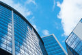 Modern architecture buildings exterior background. clouds sky reflection in skyscrapers Royalty Free Stock Photo