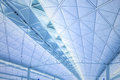 Modern architecture of ceiling in Hong Kong airport. Royalty Free Stock Photo