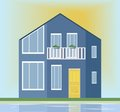 Modern architecture facade of a blue house. Vector illustration sunset background