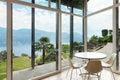Modern architecture interior veranda mountain house Stock Photo