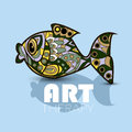 Modern art therapy poster with multicolor totem fish Royalty Free Stock Photo