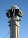 Modern aviation watch tower against a blue sky at lax Royalty Free Stock Photography