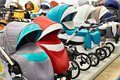 Modern baby strollers Royalty Free Stock Photo