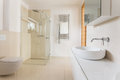 Modern bathroom with glass shower Royalty Free Stock Photo