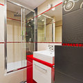 Modern bathroom interior black red white Royalty Free Stock Photo