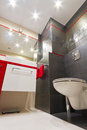 Modern bathroom interior black red white Royalty Free Stock Image