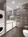 Modern bathroom interior with gray marble tiles