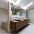 Modern bathroom interior of new in daylight Stock Image