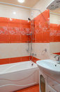 Modern bathroom of red colour Royalty Free Stock Photography