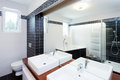 Modern bathroom with shower and bathtub Royalty Free Stock Photos