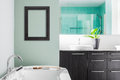 Modern bathroom using soft green pastel colors with blank wall for your test image or logo Stock Photo