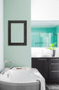 Modern bathroom using soft green pastel colors with blank wall for your test image or logo Royalty Free Stock Photos
