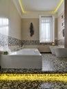Modern bathtub in bathroom Royalty Free Stock Photo