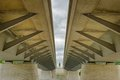 Modern beam bridge structure of concrete and steel Stock Photo