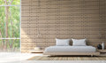 Modern bedroom decorate wall with brick 3d rendering image Royalty Free Stock Photo
