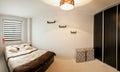 Modern bedroom minimalistic style Stock Image