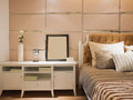 Modern bedroom with nice decoration Royalty Free Stock Photo