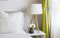 Modern bedroom with wood lamp Royalty Free Stock Photo