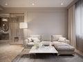 Modern Beige Gray Living Room Interior Design