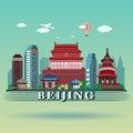 Modern Beijing City Skyline Design Royalty Free Stock Photo