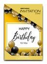 Modern birthday invitation card with balloon ornament