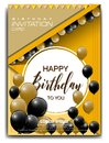 Modern birthday invitation card with balloon ornament