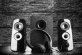 Modern black sound speakers Royalty Free Stock Photo