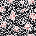 Modern black and white leopard seamless pattern with pink flowers. Animal skin and floral design, vector illustration