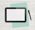 Modern blank digital tablet papers and pen on a blank wooden desk top view high quality detailed graphic collage Royalty Free Stock Images