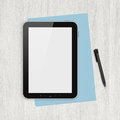 Modern blank digital tablet papers and pen on a blank wooden desk top view high quality detailed graphic collage Royalty Free Stock Image