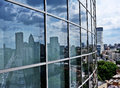 Modern blue glass wall of skyscraper Stock Image