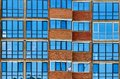 modern blue glass windows wall of office building Royalty Free Stock Photo