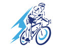 Modern Blue Motion Cyclist In Action Silhouette Logo Royalty Free Stock Photo