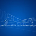 Modern blueprint building design and d model my own Royalty Free Stock Image