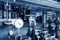 Modern boiler room equipment for heating system. Royalty Free Stock Photo