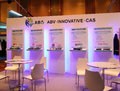 Modern booth design in exhibition communicasia Royalty Free Stock Photo